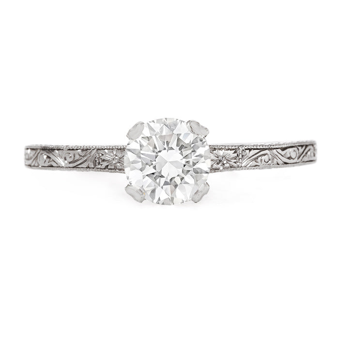 Impeccably Engraved Vintage Solitaire Engagement Ring | Harleston from Trumpet & Horn