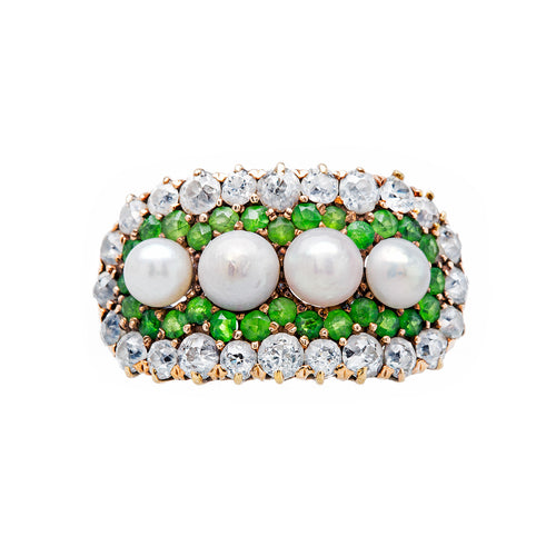 Hermitage antique Victorian pearl, green demantoid, and diamond cocktail ring from Trumpet & Horn