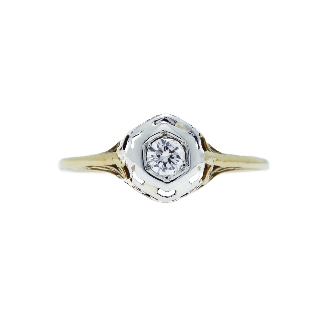 A Delightful Art Deco 14k Yellow and White Gold and Diamond Engagement Ring | Hidden River