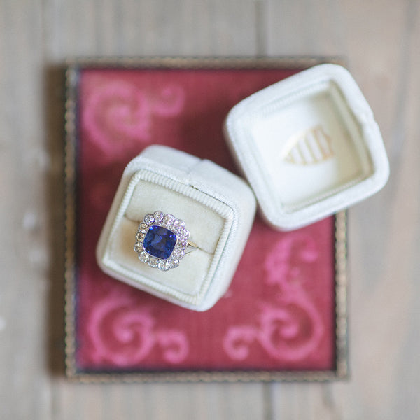 Vintage Sapphire and Diamond Engagement Ring | High Grove from Trumpet & Horn | Photo by A Still Breath