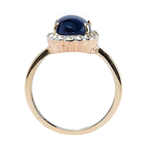 Alluring Victorian Era Cabochon Sapphire Ring with Old Mine Cut Diamond Halo | Hobart from Trumpet & Horn