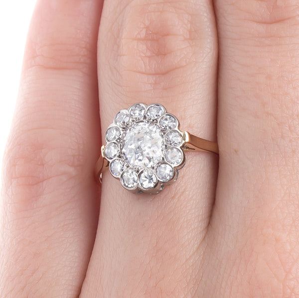 Incredibly White Old Mine Cut Diamond Ring with Oval Halo | Hoboken from Trumpet & Horn