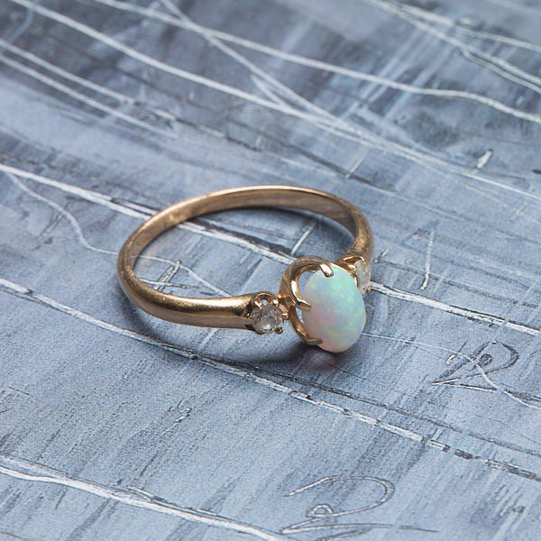 Sweet Victorian Era Yellow Gold Engagement Ring with Opal Center | Hoffman from Trumpet & Horn