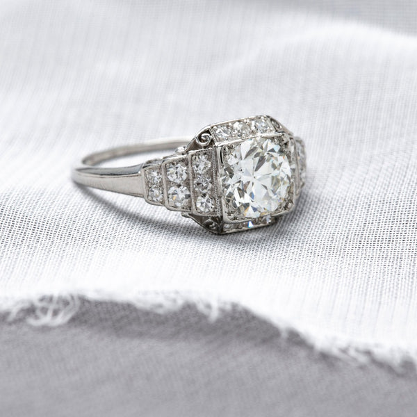 Structured & Scrolling Art Deco Diamond Halo Ring | Holderness