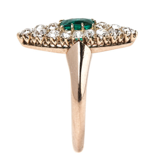 Striking Victorian Era Emerald and Diamond Navette Ring | Holly Hill from Trumpet & Horn