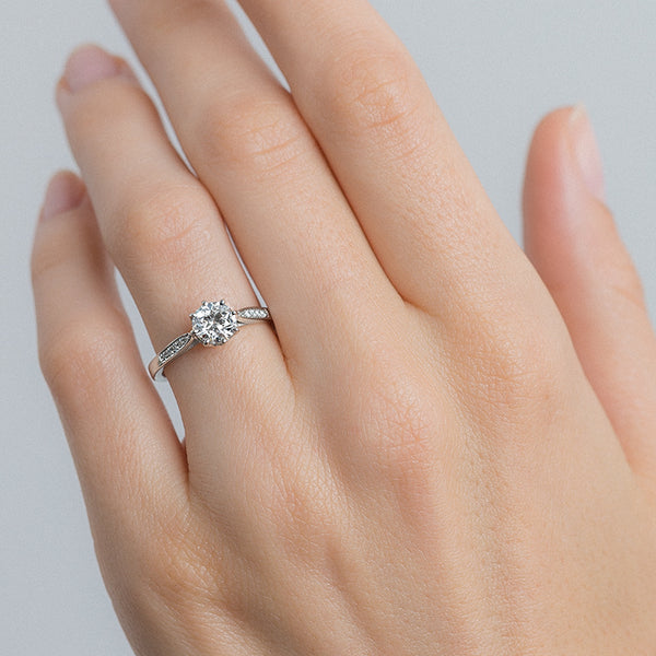 Beautiful Vintage Inspired Platinum Solitaire Engagement Ring | Horizon from Trumpet & Horn