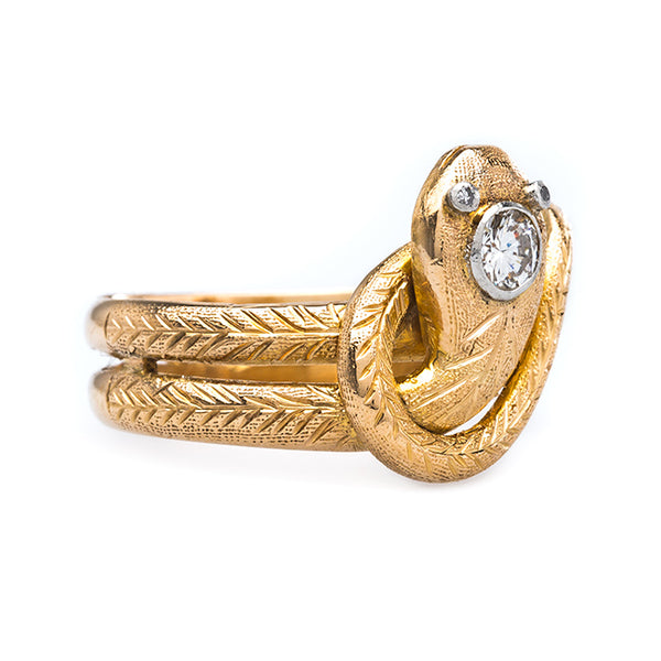 Fabulous 18k Yellow Gold Snake Ring with Diamond | Hotchkiss from Trumpet & Horn