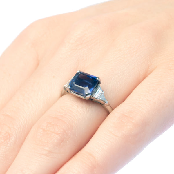 Vintage Art Deco sapphire and diamond engagement ring from Trumpet & Horn