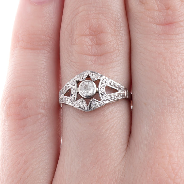 Exceptionally Handcrafted Art Deco Diamond Ring with Geometric Cutouts | Huntsworth from Trumpet & Horn