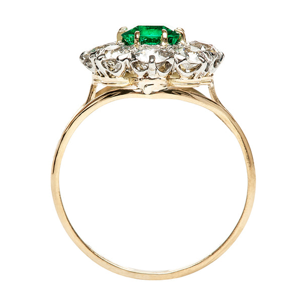 Antique Emerald Old Mine Cut Diamond Engagement Ring