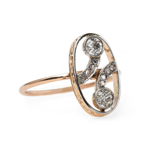 Beautifully Feminine Edwardian Era Converted Stickpin Ring | Hyperion from Trumpet & Horn