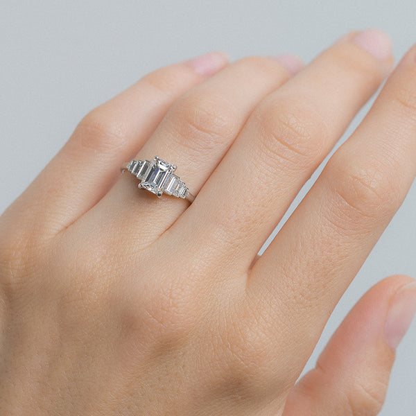 Dramatic and Timeless Emerald Cut Engagement Ring | Iceland from Trumpet & Horn