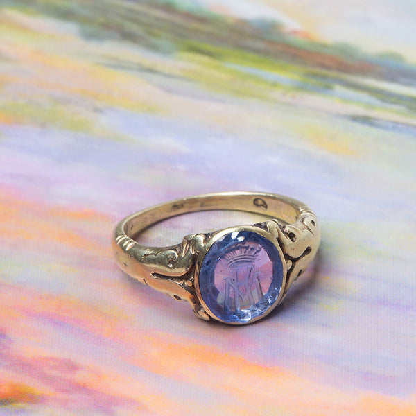 Exceptional 1920s Sapphire Crest Ring from Vienna | Prestwick from Trumpet & Horn