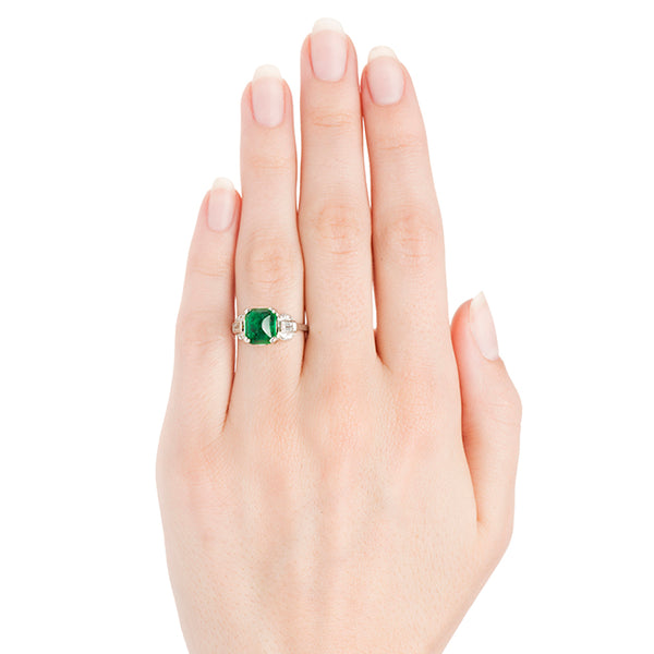 Vintage Cabochon Emerald Engagement Ring