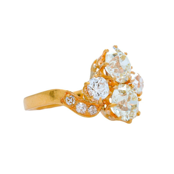 A Regal Victorian Era Antique 18k Yellow gold and Diamond Toi et Moi Ring