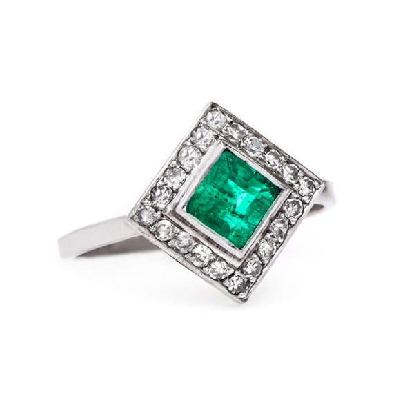 Delightful Emerald and Diamond Art Deco Engagement Ring | Irish Fields from Trumpet & Horn