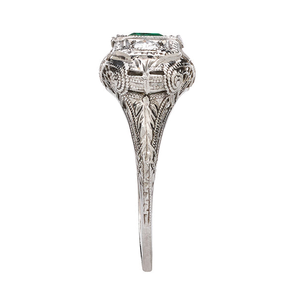 Vintage Art Deco Diamond and Emerald Engagement Ring