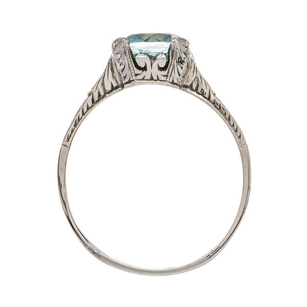 Late Art Deco Aquamarine Solitaire Engagement Ring | Ivy from Trumpet & Horn