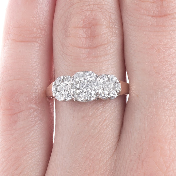 Glittering Three-Stone Style Retro Ring with 19 Diamonds | Jacksboro from Trumpet & Horn
