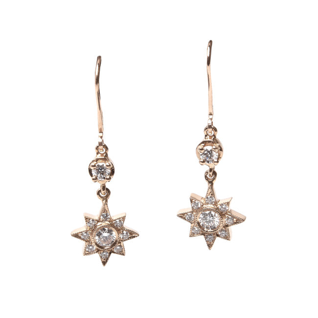 Vintage Inspired 18K Rose Gold Starburst Earrings | Joie de Vivre from Trumpet & Horn