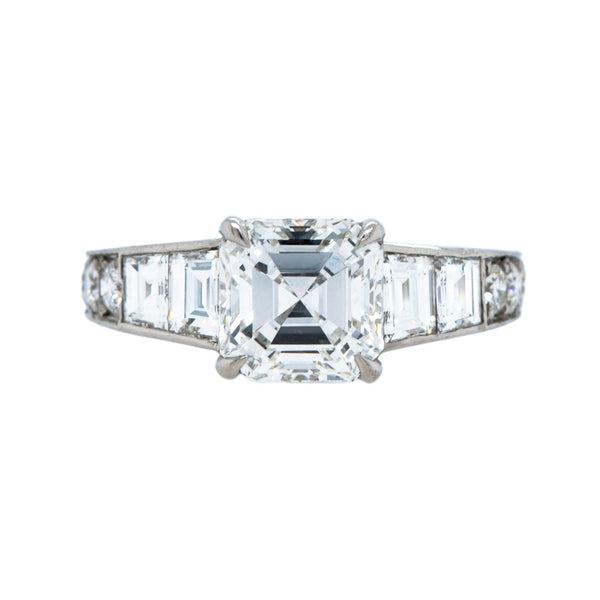 A Spectacular Modern Era Platinum and Diamond Asscher Cut Engagement Ring | Juniper Creek