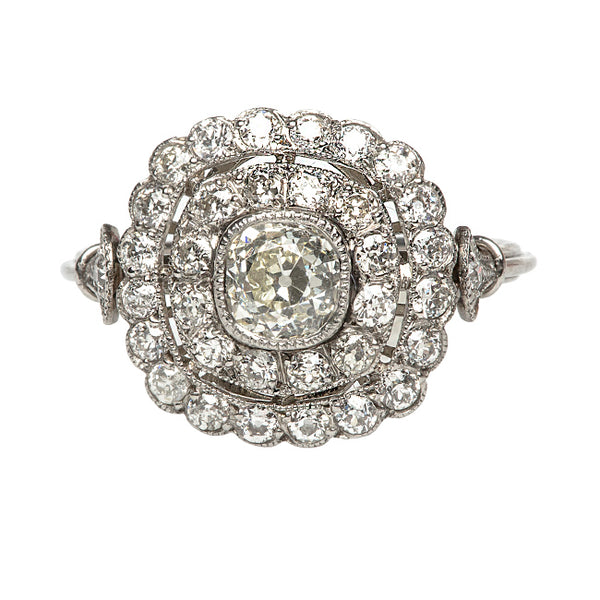 Vintage Inspired Diamond Halo Engagement Ring