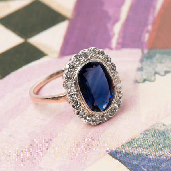 Victorian Era Cluster Engagement Ring with Unheated Sapphire | Kennewick from Trumpet & Horn