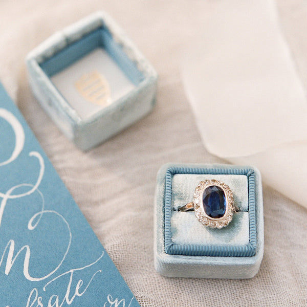 Victorian Era Cluster Engagement Ring with Unheated Sapphire | Kennewick from Trumpet & Horn | Photo by The Happy Bloom