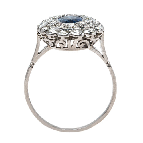 Show-Stopping Natural Sapphire and Double Diamond Halo Ring | Kenosha from Trumpet & Horn