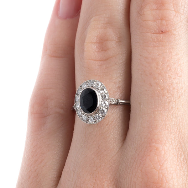 Timeless Modern Platinum Sapphire Engagement Ring with Diamond Halo | Ketchum