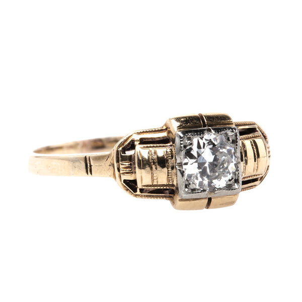 Retro Era Solitaire Engagement Ring with Old European Cut Diamond Center | Kittery from Trumpet & Horn