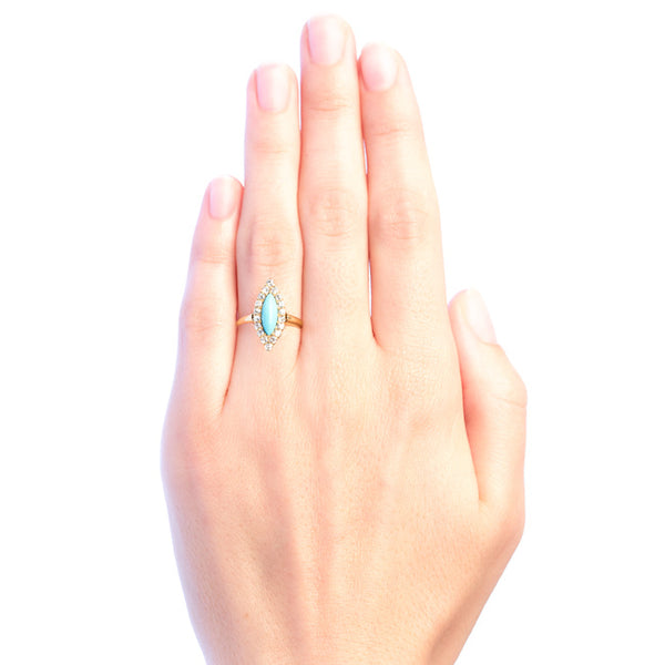 Laguna Victorian Era Navette Turquoise Cocktail Ring from Trumpet & Horn