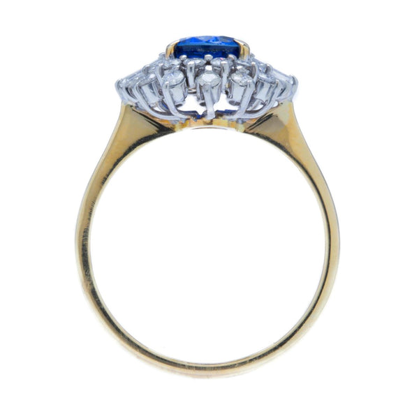 A Dazzling Vintage Sapphire and Diamond Halo Ring | Lake Shore