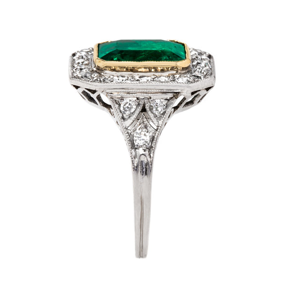 Late Art Deco Ring with Bezel Set Emerald | Lake Tahoe from Trumpet & Horn
