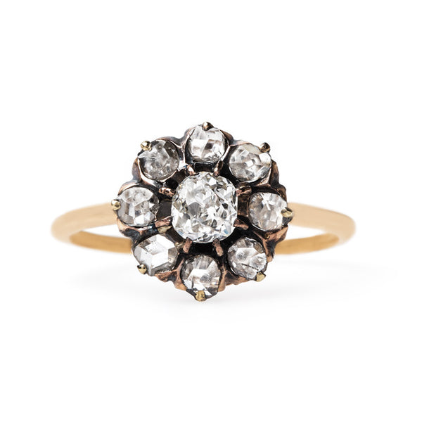 Old Mine Cut and Rose Cut Diamond Halo Ring | Lancashire from Trumpet & Horn