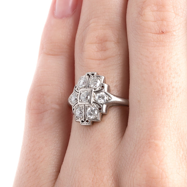 Superb Late Art Deco Engagement Ring with Old European Cut Diamonds | Lancaster from Trumpet & Horn