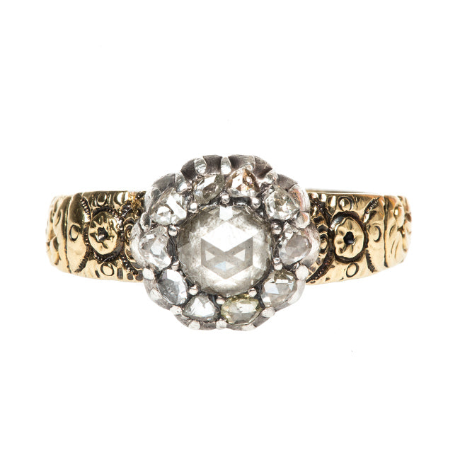 Georgian Antique Mixed Metal Rose Cut Diamond Engagement Ring | Larchmont from Trumpet & Horn