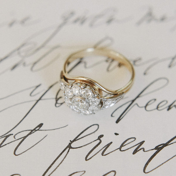 Glittering Art Nouveau Halo Ring | Photo by Laura Murray Photography