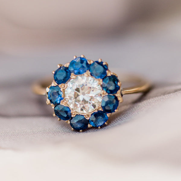 Diamond and Sapphire Halo Ring | Photo by Lauren Swann
