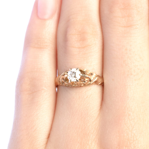 Leeds vintage Victorian era Old Mine Cut diamond solitaire engagement ring from Trumpet & Horn