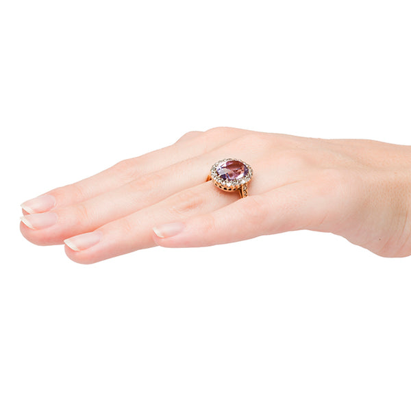 Vintage Amethyst Diamond Halo Cocktail Ring