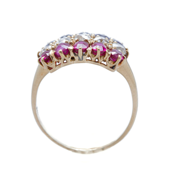 An incredible Victorian era 18k Rose Gold, Diamond, Sapphire and Ruby Engagement Ring | Liberty Fleet