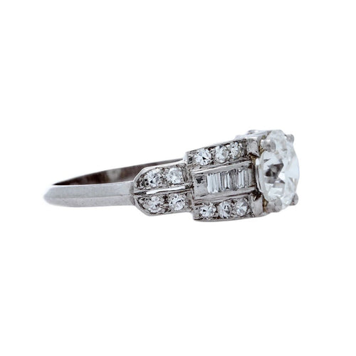 A Stunning Late Art Deco Platinum and Diamond Engagement Ring