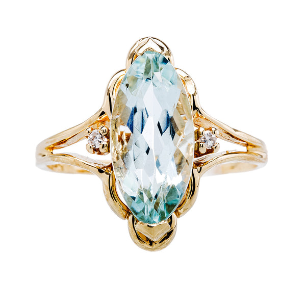 Marquise Cut Aquamarine in Yellow Gold Setting | Lockley from Trumpet & Horn