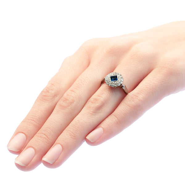 Lockwood antique sapphire and diamond engagement ring from Trumpet & Horn