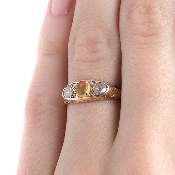 Delicate Victorian Era Engagement Ring with Bright Orange Fire Opal | Louisville from Trumpet & Horn