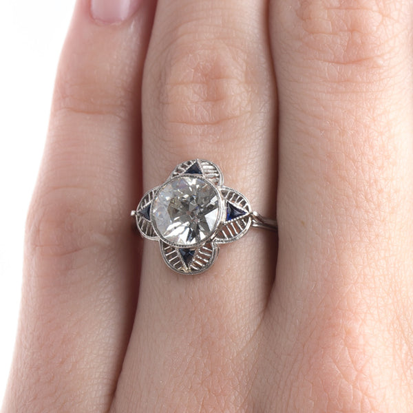 Edwardian Era Diamond Engagement Ring with Quatrefoil Design and Sapphire Accents | Loveland from Trumpet & Horn