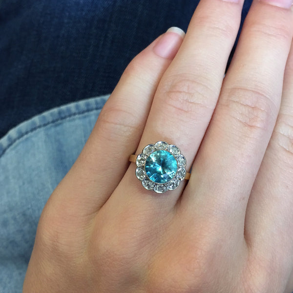 Fabulous Zircon Engagement Ring with Diamond Halo | Loxley from Trumpet & Horn