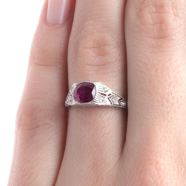 Cheerful Art Deco Platinum Engagement Ring with Deep Red Burma Ruby | Madeira from Trumpet & Horn