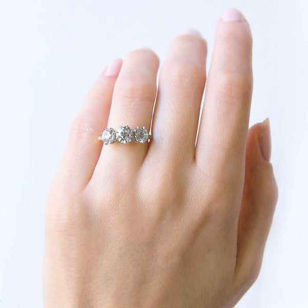 Magnolia Hill | A stunning Trumpet &Horn vintage-inspired 3-stone diamond engagement ring